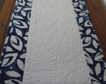 Blue and white beautiful quilted table runner