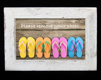 Please Remove Shoes Sign/ Beach House Decor/ House Rules
