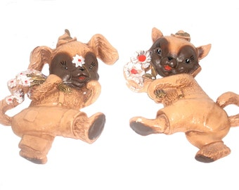 Vintage 1960s Chalkware Wall Hangings, Cat and Dog,  Antique Alchemy