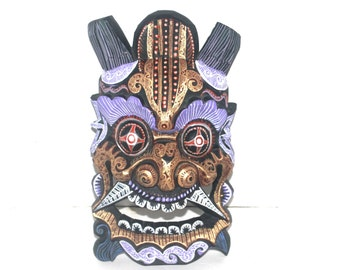 Large Vintage Asian Wall Mask, Antique Alchemy