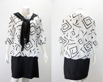 Plus Size Dress - 1980s Vintage Dress - Black and White Drop Waist Dress
