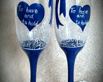 Reduced . Something Blue, Pair of handpinted champagne flutes