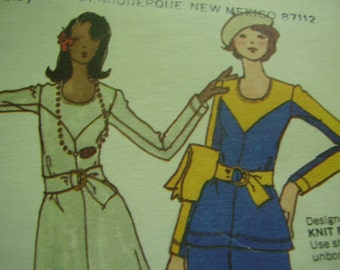 Vintage 1970's Butterick 3288 Dress, Tunic and Pants Sewing Pattern, Size 11, Bust 33 1/2