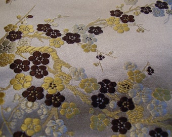 Vintage 1950's Gold Metalic Black Cherry Blossoms Brocade Fabric Remnant