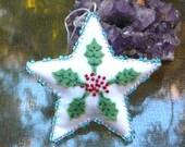 Holly Star, Handmade Beaded Christmas Ornament, Waldorf Inspired Solstice Decoration
