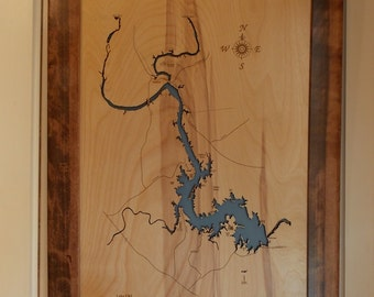 Wood Laser Cut Map of Lake Lyndon B. Johnson, TX Topographical Engraved Map