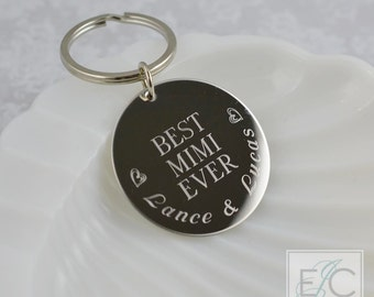 best mimi ever engraved stainless steel key chain | personalized keychain