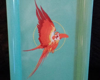 Vintage Metal Art Deco Parrot Tray