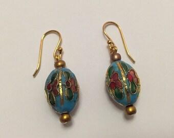 Cloisonne inspired flower earrings