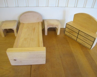 Vintage Modern Birch Dollhouse Bedroom Set, Bedroom Set, Creative Playthings Style, Bed, Dresser, Night Stand, Dollhouse, Furniture, MCM,