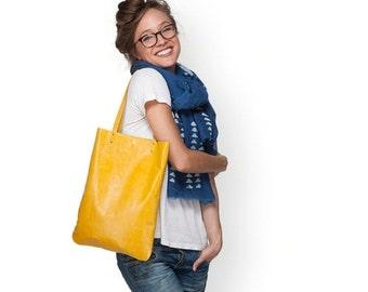 Yellow handbag bag, women leather bag, leather purse