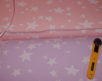 "Euro French Terry summer sweat knit cotton lycra jersey fabric ""Pink Stars"" fabric by 1/2 yard"