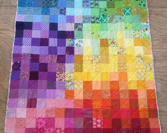 Twin size patchwork quilt in rainbow colors, baby rainbow blanket