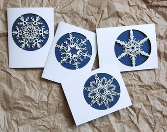 Snowflake Holiday Greeting Card Set of 4: Laser cut snowflake cards