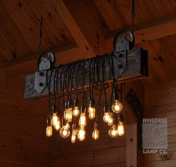 Rustic Lighting Rope Pendant Light Rope Light Wood Beam: The Farm Beam Wood Plank Pulley Chandelier
