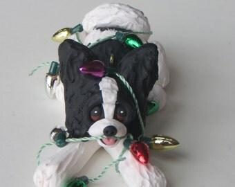 Papillon Christmas Ornament Polymer Clay Sculpture