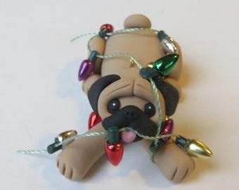 Pug Dog Polymer Clay Figurine Christmas Ornament