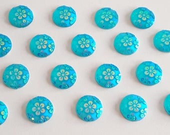 5 - 12mm Round Turquoise AB Tropical Flower Cabochon Embellishments