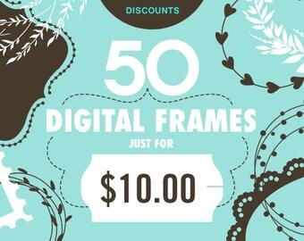 Frame Clipart Digital Frames Label Clipart Digital Labels Invitation Clipart Wedding Clipart Lace Frame Doodle Frames Floral Frame Clipart
