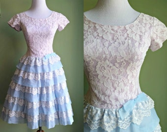 1950's Cotton Candy Dress - Tiered Purple and Blue Party Dress - XS
