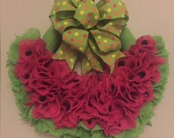 Burlap  watermelon wreath
