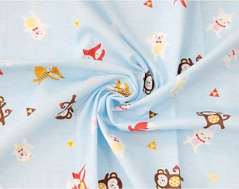 Animals Cotton Knit Fabric, Monkeys, Foxes, Bears, Rabbits - Blue - 59 Inches Wide - By the Yard 87436