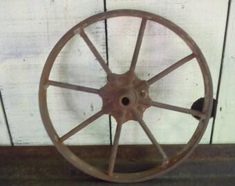 "Antique Rusty 8 spoke cast iron 16"" wagon wheelbarrow cart wheel  Steampunk"