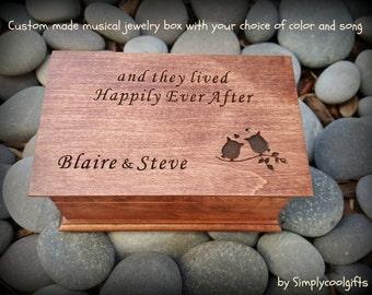 music box, custom made music box, anniversary, wooden anniversary, 5th anniversary, personalized jewelry box, Happily Ever After, wedding