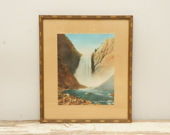 Mid Century Waterfall Photo Print in Gold Frame