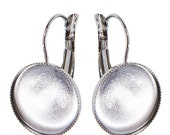 15mm Quality rhodium-plated  Lever-backs EU made for Crystal Rocks finding