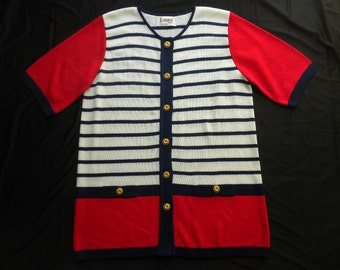 VTG 80s Laura by Alyzia Nautical Striped Red Blue White Cardigan Sweater Gold Buttons Size 14 Large