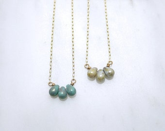 Seafoam gold teardrop necklace - glass beads - turquoise green - trio - delicate dainty