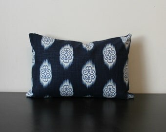 Decorative Throw Pillow Cover, Blue Ikat Lumbar Pillow Cover, 12x16,12x18, Kosi Throw Pillow,Toss Pillow, Accent Pillow, Sofa Pillow