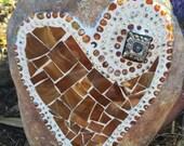 MOSAIC Heart, MOSAIC Rock, MOSAIC Garden Stone, Amber Glass, Home Decor, Garden Gift, Gardener