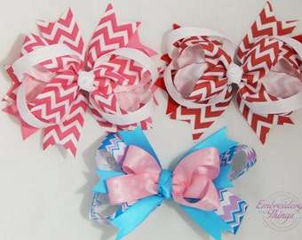 Boutique double hair bows,  choice your colors, Red chevron hair bow, Pink Chevron hair bow,  baby headbands, girls hair bows