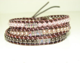 Earthy Beaded Leather Wrap Bracelet, Swarovski Pearl Wrap Bracelet, Pink Pearl Wrap Bracelet, Boho Style Jewelry, Beaded Bracelet