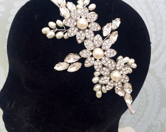 bridal tiara - bridal headpiece - wedding headpiece - wedding headband - bridal headpiece - bridal headband - floral headdress.