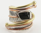 Black Tourmaline Rough Three Tone Sterling Silver Adjustable Wrap Ring