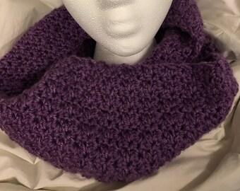 Purple Infinity Crocheted Scarf