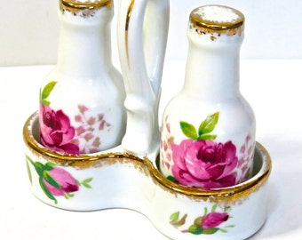 Porcelain Salt and Pepper Shakers in Caddy Made in Japan, Georgean Rose