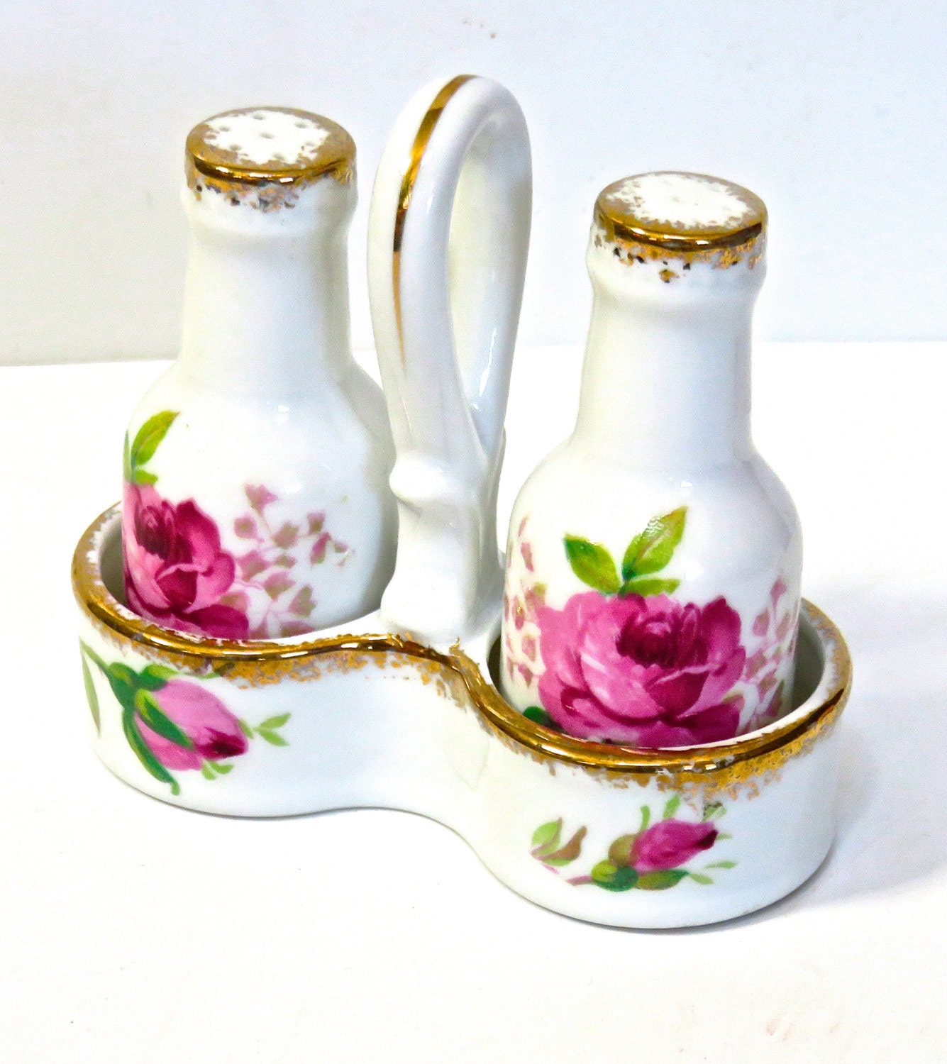 Porcelain Salt And Pepper Shakers In Caddy Made In Japan