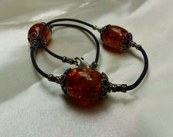 """Sterling Silver w Faux amber Beads Necklace -28 grms (almost an ounce) 15"""" Lobster claw 1682"""