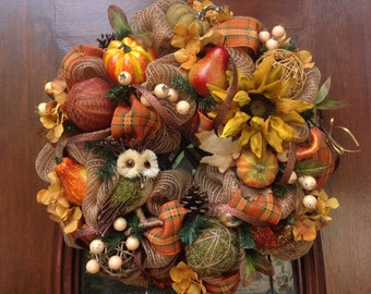 Fall  Mesh Wreath with Owl