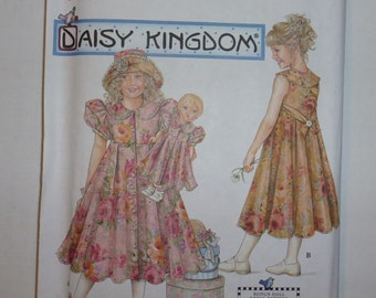 "Simplicity Pattern 7550 for Child's and Girl's Dress, Hat and Doll Dress for 17"" Doll   Daisy Kingdom  Sizes 8,10,12,14   Available"
