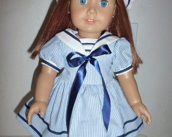 """18"""" Sailorette Doll Dress  and Hat Fits American Girl, Madame Alexander and Gotz Dolls"""