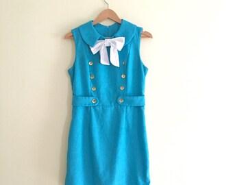 Vintage Mod Blue Scooter Dress / Peter Pan Pussy Bow Collar Dress /  Mini Dress / 1960s