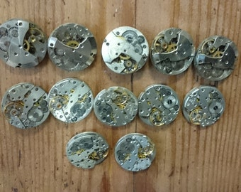 Movements, Lot of 12 vintage mechanical watch movements, watch parts mixed media jewelery lot, small movements