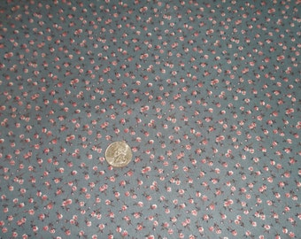 3 + yards Peter Pan FABRIC Blue/Gray background with/ Red & Pink flowers Cotton, Prewashed