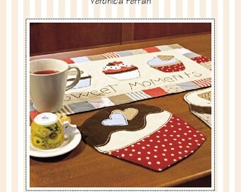 Pdf Sewing Pattern - RUNNER and PLACEMATS with CUPCAKES appliquè, Breakfast time, Tea time, Party Time, Home Decor, Kitchen Runner, Quilting