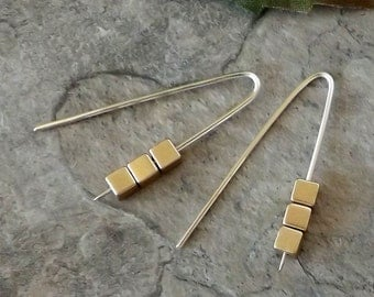 Cube Earrings, Gold Earrings, Modern Earrings, Minimalist Earrings, Mixed Metal Earrings, Simple Earrings, Sterling Silver Earrings, Gift